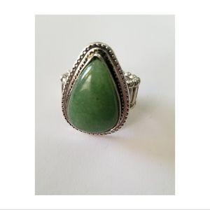 Big Jade Green Stone & Silver Stretchy Ring